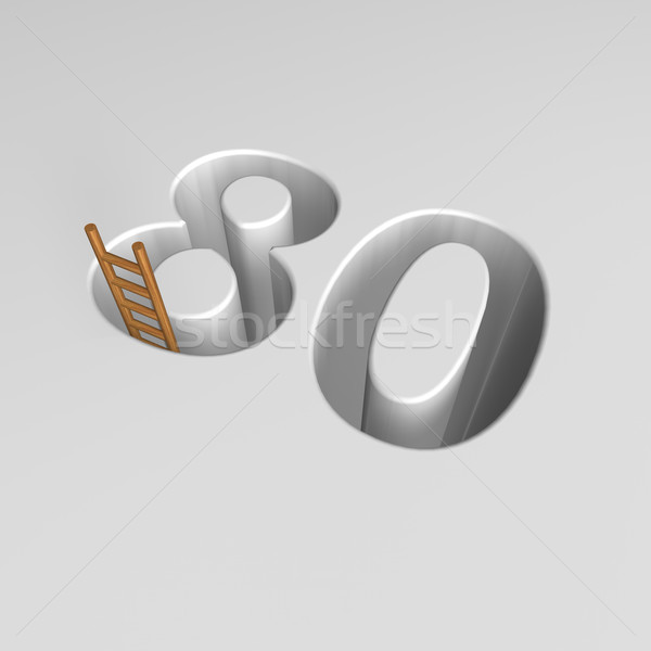 number eighty and ladder - 3d rendering Stock photo © drizzd