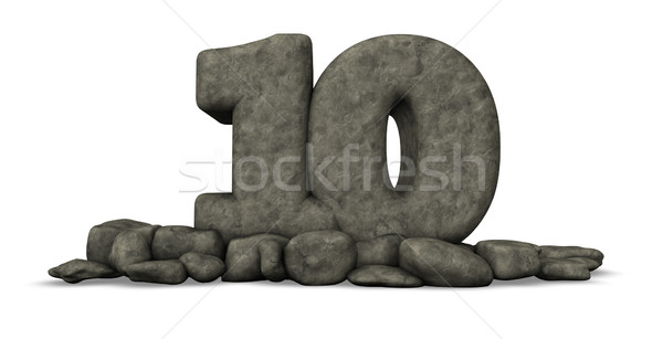 stone number ten on white background - 3d rendering Stock photo © drizzd