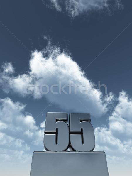 Metall fünfzig fünf bewölkt blauer Himmel 3D-Darstellung Stock foto © drizzd
