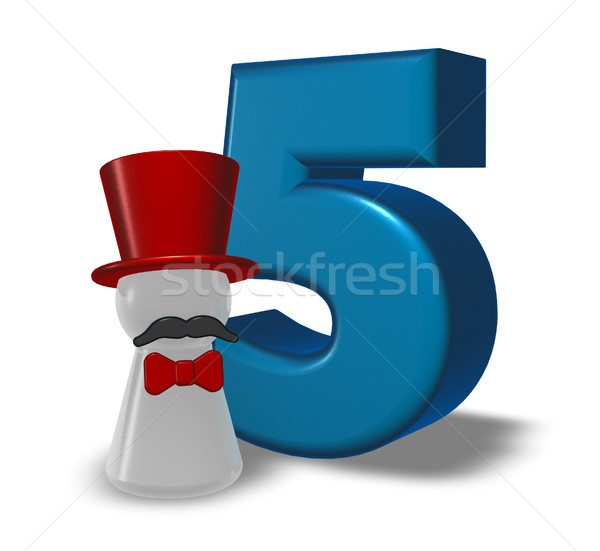 number five and pawn with hat and beard - 3d rendering Stock photo © drizzd