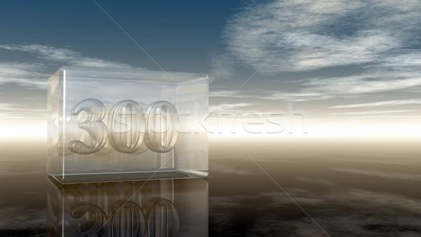 Foto stock: Número · três · cem · vidro · cubo · nublado