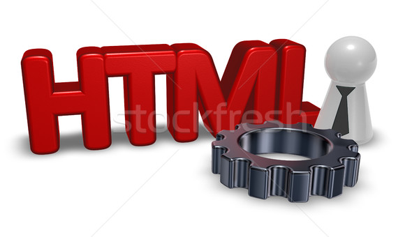 Html tag pion stropdas versnelling wiel Stockfoto © drizzd