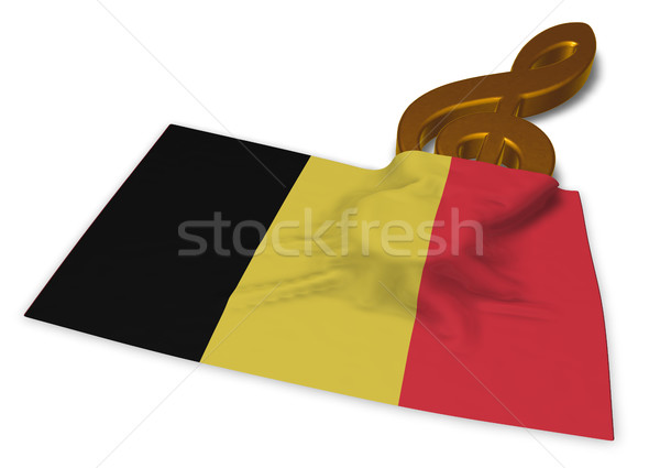 clef symbol and flag of belgium - 3d rendering Stock photo © drizzd