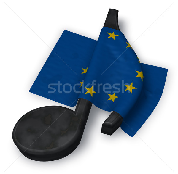 music note and flag of the european union - 3d rendering Stock photo © drizzd