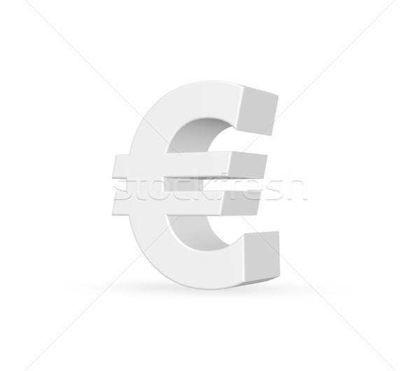 Euro simge beyaz 3d illustration iş imzalamak Stok fotoğraf © drizzd