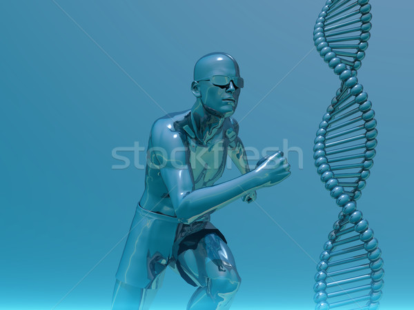 Lopen man dna 3d illustration medische Stockfoto © drizzd