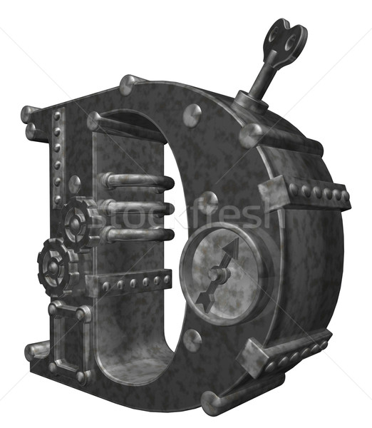Steampunk mektup d beyaz 3d illustration saat teknoloji Stok fotoğraf © drizzd