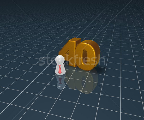 Nombre quarante jouer chiffre cravate 3d illustration Photo stock © drizzd