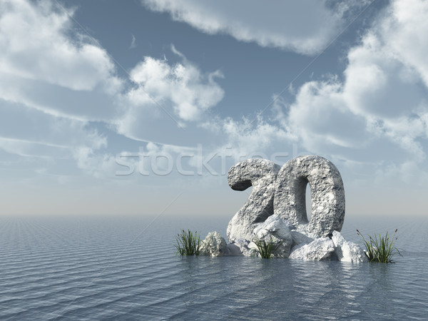 number twenty rock at water - 3d rendering Stock photo © drizzd