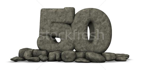 каменные числа пятьдесят белый 3D Сток-фото © drizzd