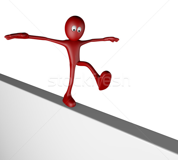 cartoon guy balances on board - 3d rendering Stock photo © drizzd