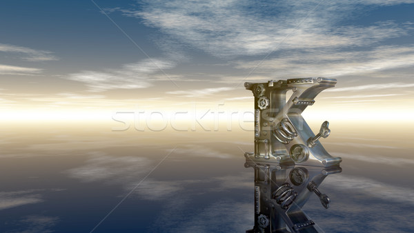 machine letter k under cloudy sky - 3d illustration Stock photo © drizzd