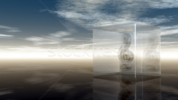clef in glass cube under cloudy sky - 3d rendering Stock photo © drizzd