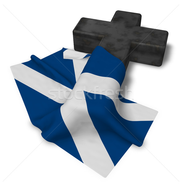 christian cross and flag of scotland - 3d rendering Stock photo © drizzd