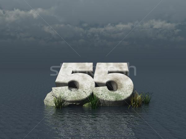 Cinquante cinquième nombre océan 3d illustration nature Photo stock © drizzd