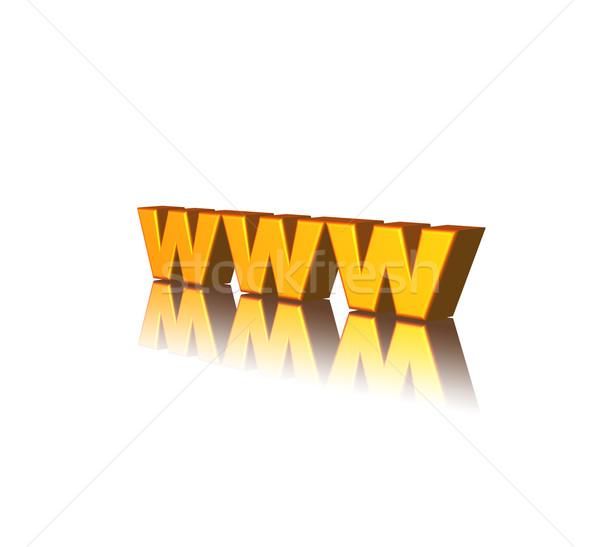 Www gouden brieven witte 3d illustration computer Stockfoto © drizzd