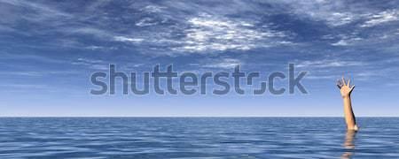 СОС руки воды пейзаж синий облачный Сток-фото © drizzd