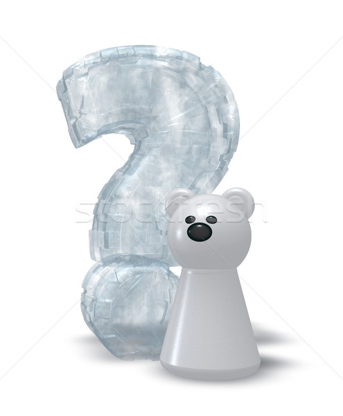 Ours polaire question congelés interrogation 3d illustration heureux Photo stock © drizzd