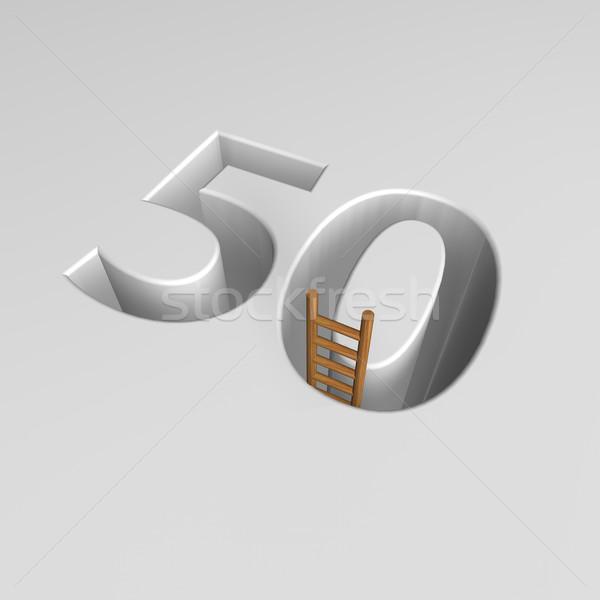числа пятьдесят лестнице 3D форма Сток-фото © drizzd
