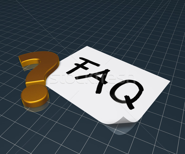 the word faq on paper sheet and question mark - 3d rendering Stock photo © drizzd