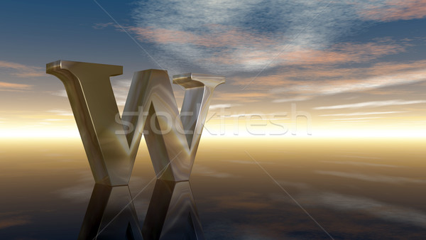 metal uppercase letter w under cloudy sky - 3d rendering Stock photo © drizzd