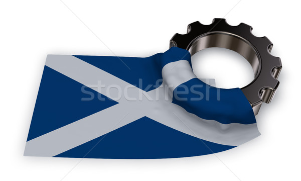 gear wheel and flag of scotland - 3d rendering Stock photo © drizzd