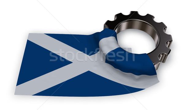 Viselet kerék zászló Skócia 3D renderelt kép Stock fotó © drizzd