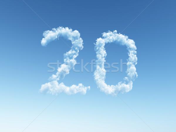 Сток-фото: облачный · двадцать · облака · форма · числа · 3d · иллюстрации