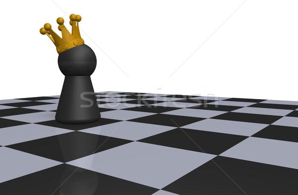 Rey del ajedrez rey tablero de ajedrez 3d corona jugar Foto stock © drizzd