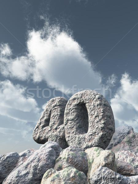 Número cuarenta rock nublado cielo azul 3d Foto stock © drizzd