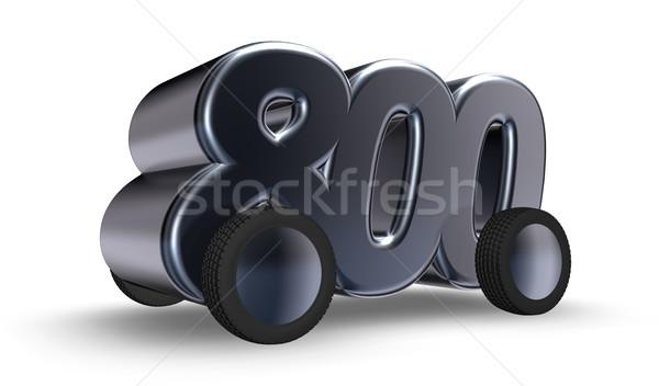 Otto cento numero ruote illustrazione 3d auto Foto d'archivio © drizzd