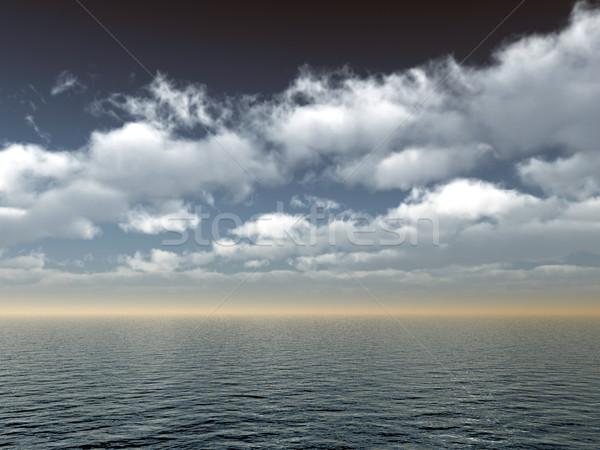 Stok fotoğraf: Deniz · su · manzara · bulutlu · gökyüzü · 3d · illustration