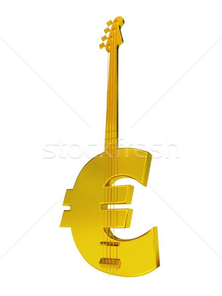 Euro basszus gitár fehér 3d illusztráció pénz Stock fotó © drizzd