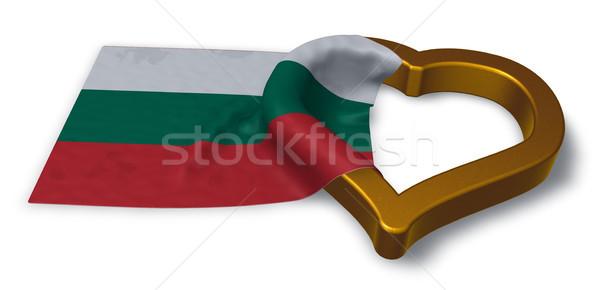 Zászló szív szimbólum 3D renderelt kép házasság Stock fotó © drizzd