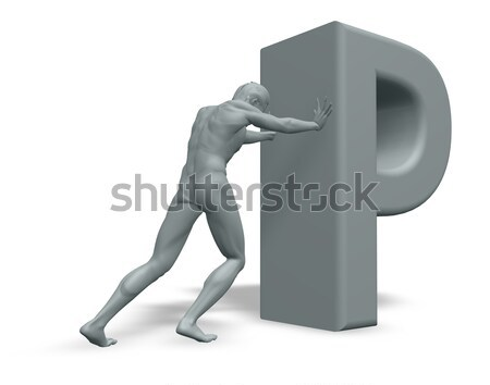 man pushes H Stock photo © drizzd