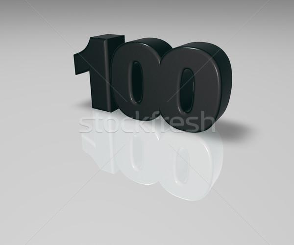 Legelső száz fehér 3d illusztráció felirat évforduló Stock fotó © drizzd