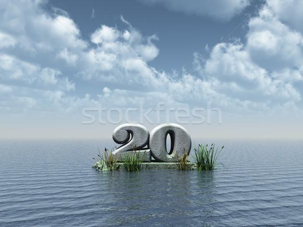 Vinte anos número oceano ilustração 3d festa Foto stock © drizzd