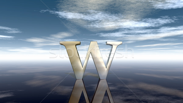 Stock photo: metal uppercase letter w under cloudy sky - 3d rendering