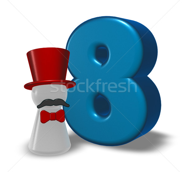 number eight and pawn with hat and beard - 3d rendering Stock photo © drizzd