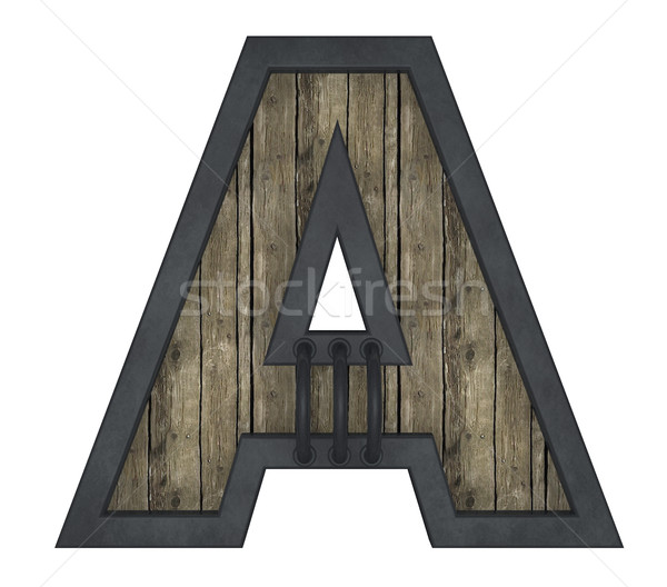 wooden uppercase letter a with metal frame on white background - 3d illustration Stock photo © drizzd