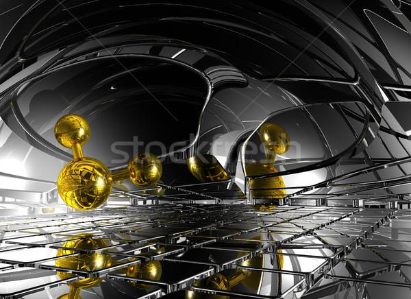 Futurisztikus űr 3D renderelt kép modell hálózat Stock fotó © drizzd