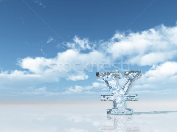 Fagyott yen szimbólum felhős kék ég 3d illusztráció Stock fotó © drizzd