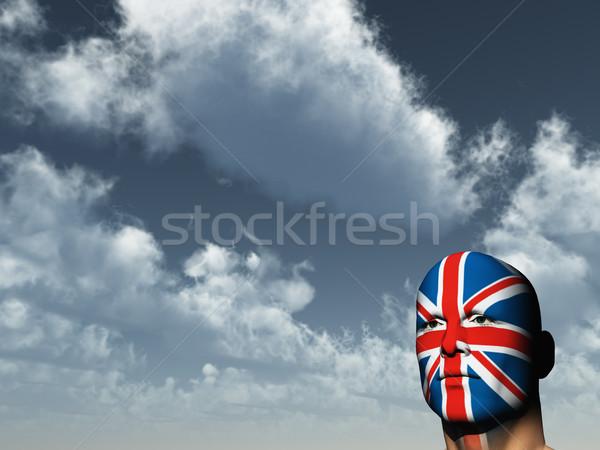 Union jack man gezicht geschilderd 3d illustration hemel Stockfoto © drizzd