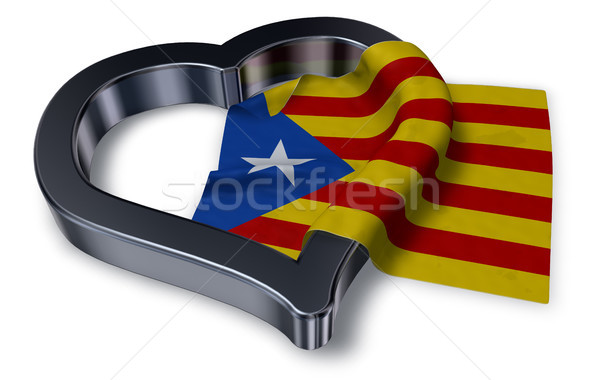 flag of catalonia and heart symbol - 3d rendering Stock photo © drizzd