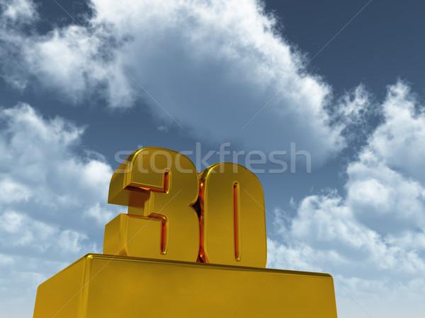 Harminc szám 30 kék ég 3d illusztráció buli Stock fotó © drizzd