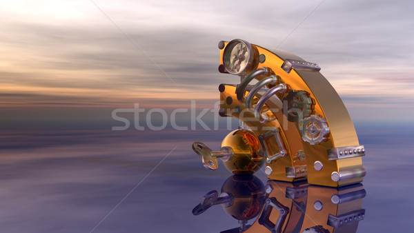 Rss スティームパンク シンボル 曇った 空 3次元の図 ストックフォト © drizzd
