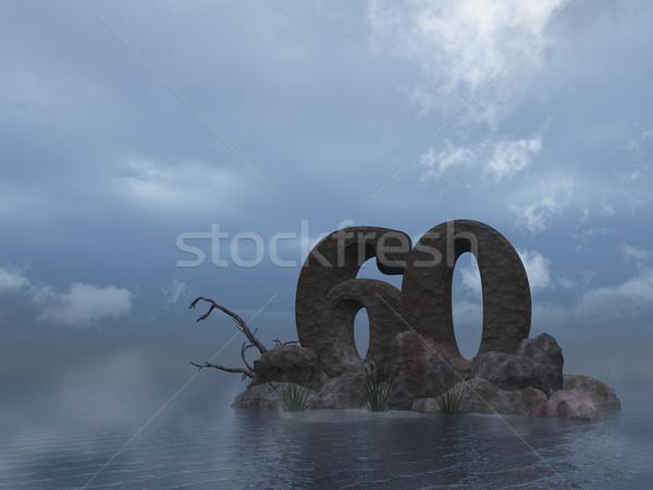Steen zestig aantal 60 oceaan 3d illustration Stockfoto © drizzd