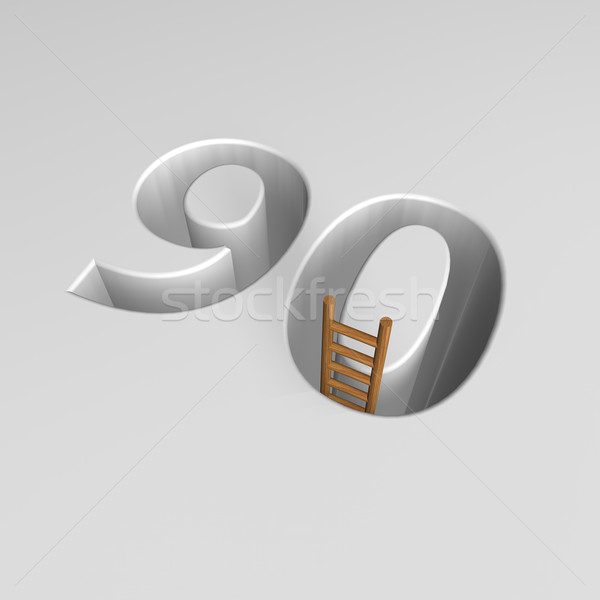number ninety and ladder - 3d rendering Stock photo © drizzd
