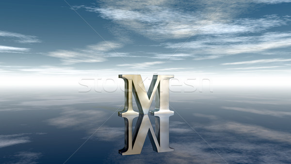 metal uppercase letter m under cloudy sky - 3d rendering Stock photo © drizzd