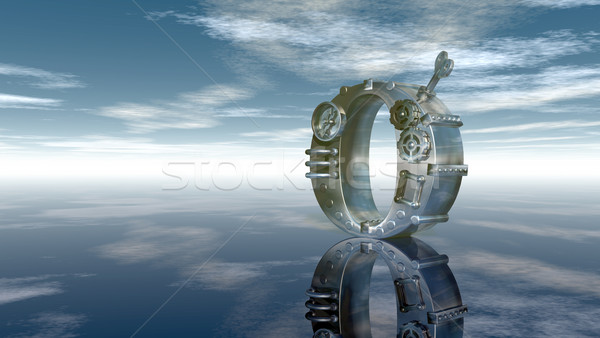 machine letter o under cloudy sky - 3d illustration Stock photo © drizzd